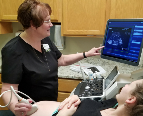 Limited ultrasound with nurse and patient